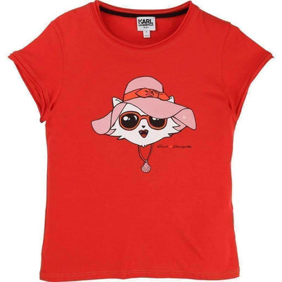 Red Choupette Print T-Shirt-Shirts-Karl Lagerfeld-kids atelier