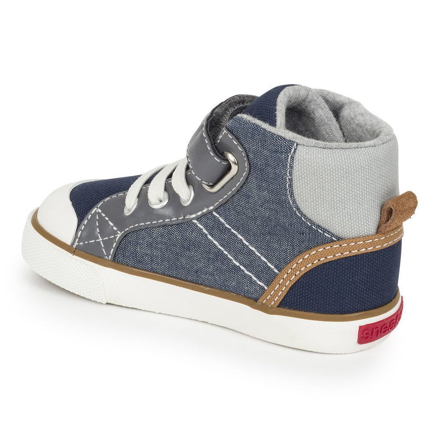 See Kai Run Dane Chambray Multi High Sneaker-Shoes-See Kai Run-kids atelier
