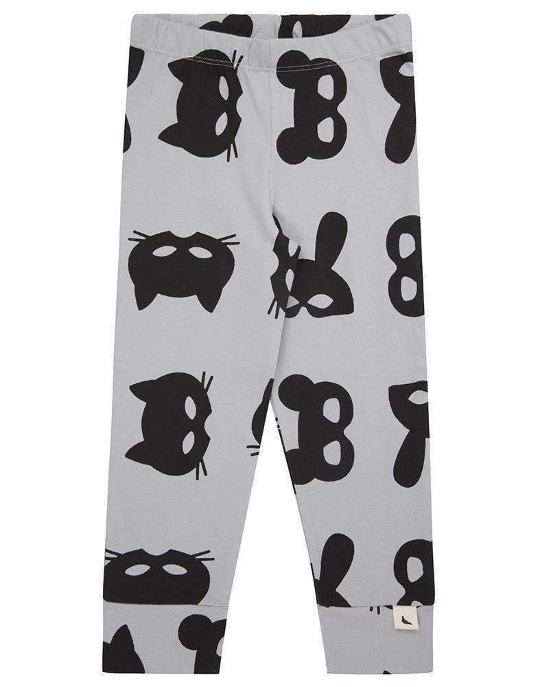 Turtledove London Black & Gray Animal Mask Leggings-Leggings-Turtledove London-kids atelier