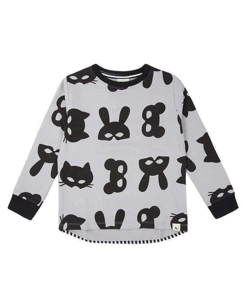 Turtledove London Black & Gray Animal Mask Sweatshirt-Shirts-Turtledove London-kids atelier
