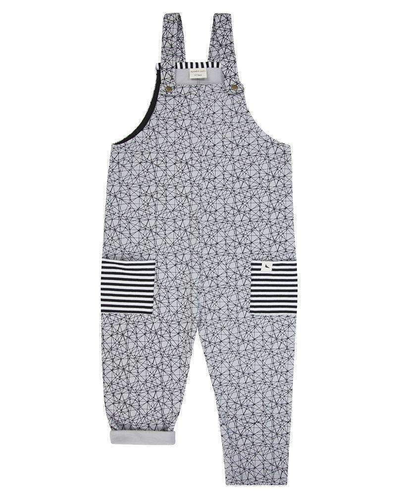 Turtledove London Gray Doodle Art Overalls-Bodysuits-Turtledove London-kids atelier