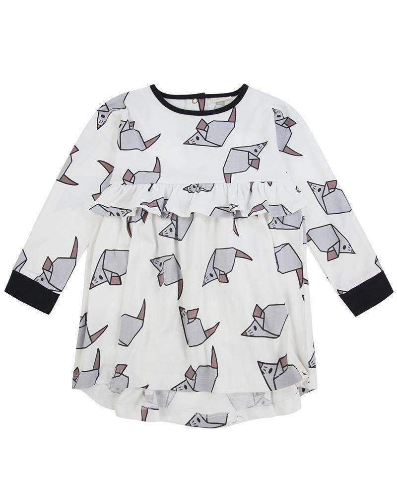 Turtledove London White Origami Mouse Dress-Dresses-Turtledove London-kids atelier