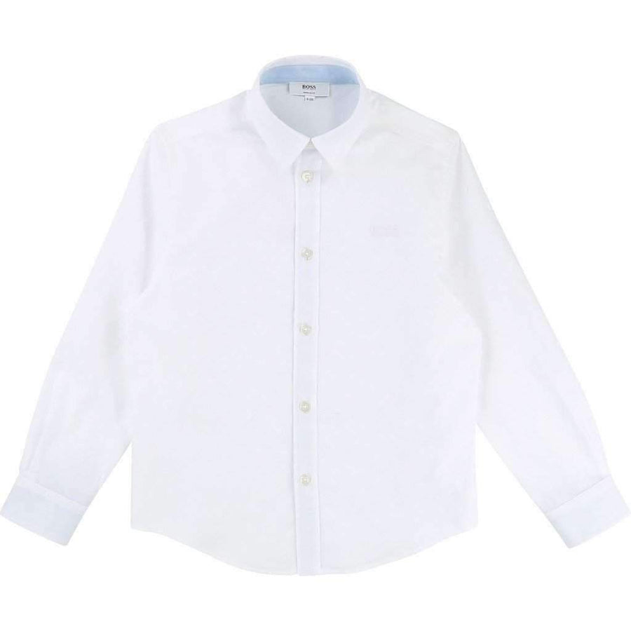 White Long Sleeve Shirt-Shirts-BOSS-kids atelier