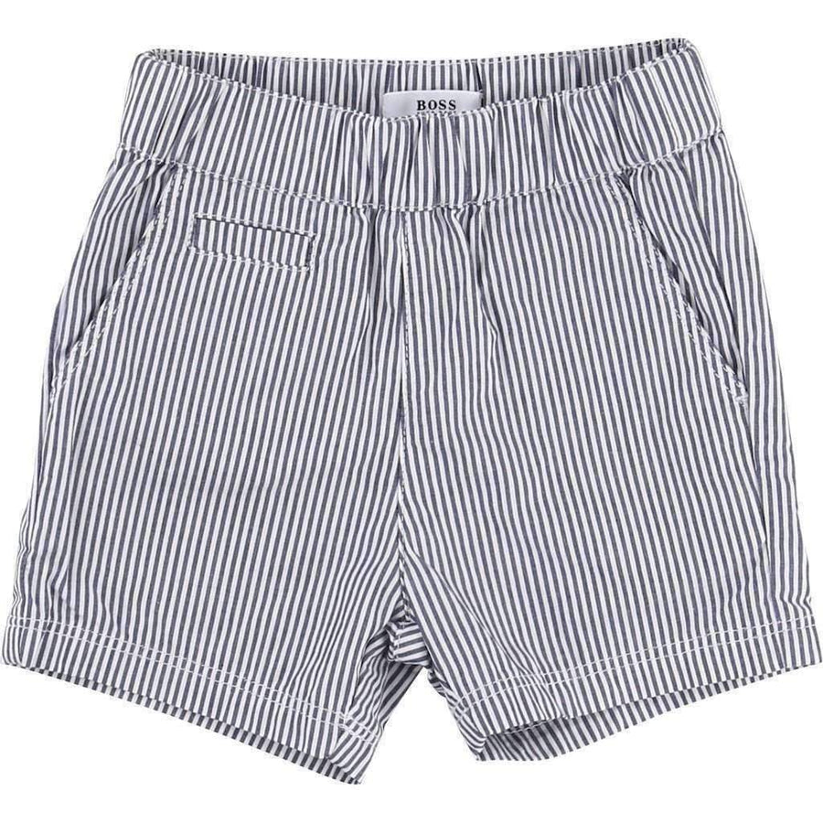 White Polo & Striped Short Set