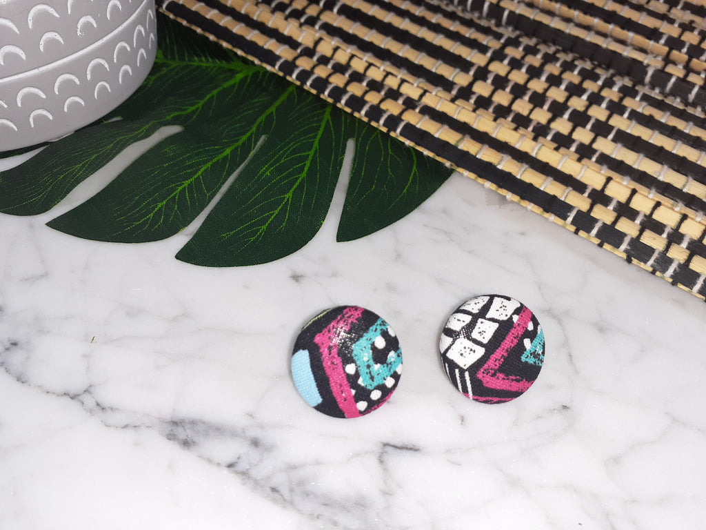 Kaleidoscope Mini Button Earrings
