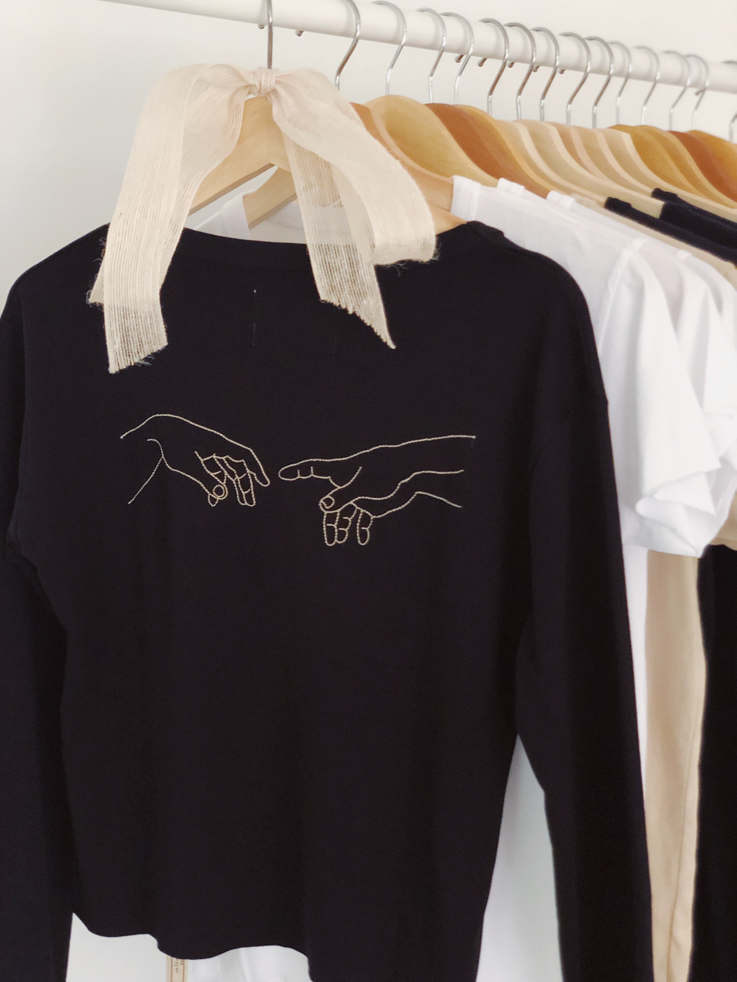 Create (The Creation of Adam), High-Waisted Long Sleeved Tee