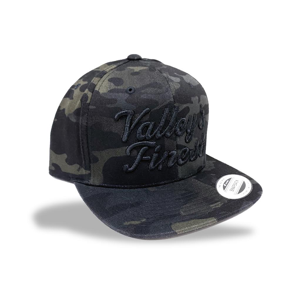 Valley's Finest Black Camo Snapback Hat
