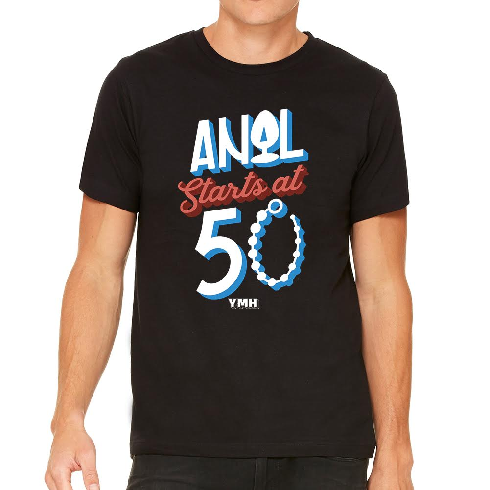 Anal Starts At 50 Mens Black Tee