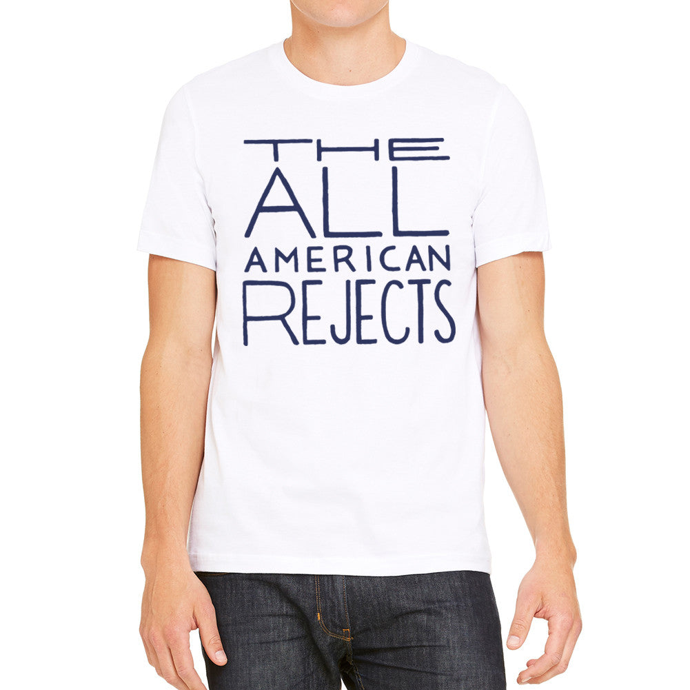 All American Rejects Navy Logo Men's White T-Shirt