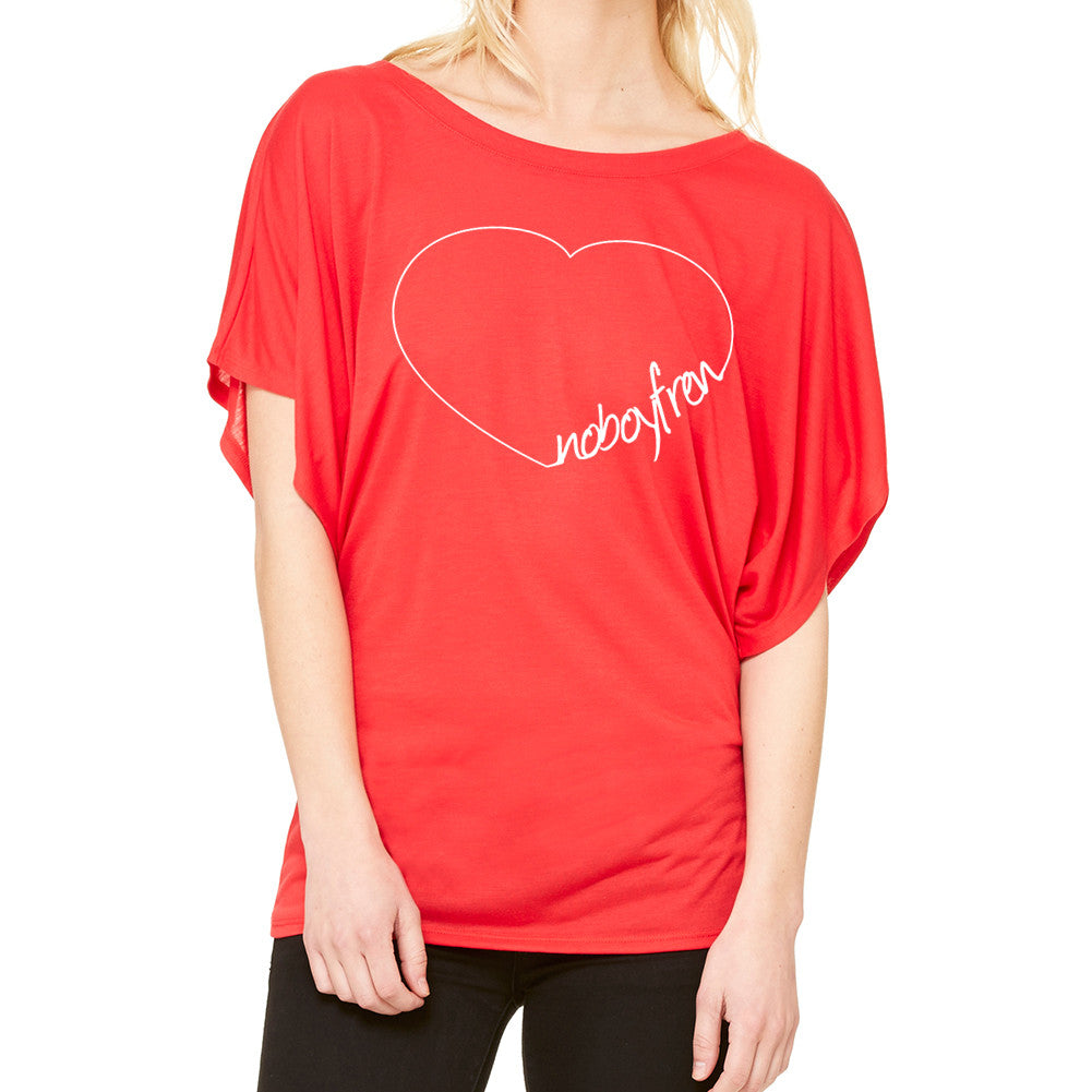 No Boyfren Heart Women's Red Dolman T-Shirt