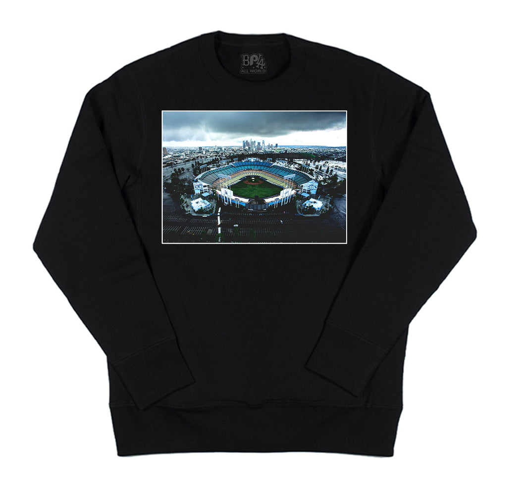DTLA JAY x BPLA Dodgers Stadium Men's Black Long Sleeve Crewneck Sweater