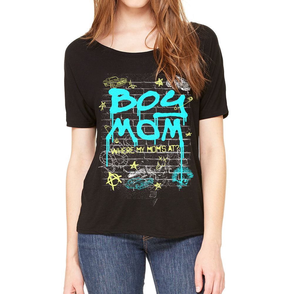 Boy Mom Women's Slouchy Black Tee