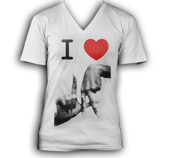 I love LA Women's White V-Neck T-Shirt