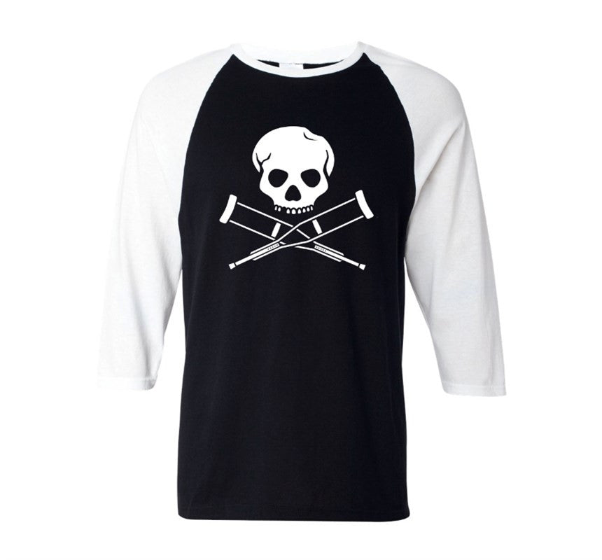 Skull & Crutches Black & White Men's Raglan