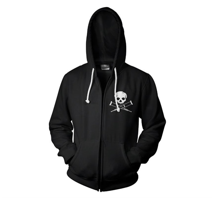 Skull & Crutches Black Men's Zip Hoodie