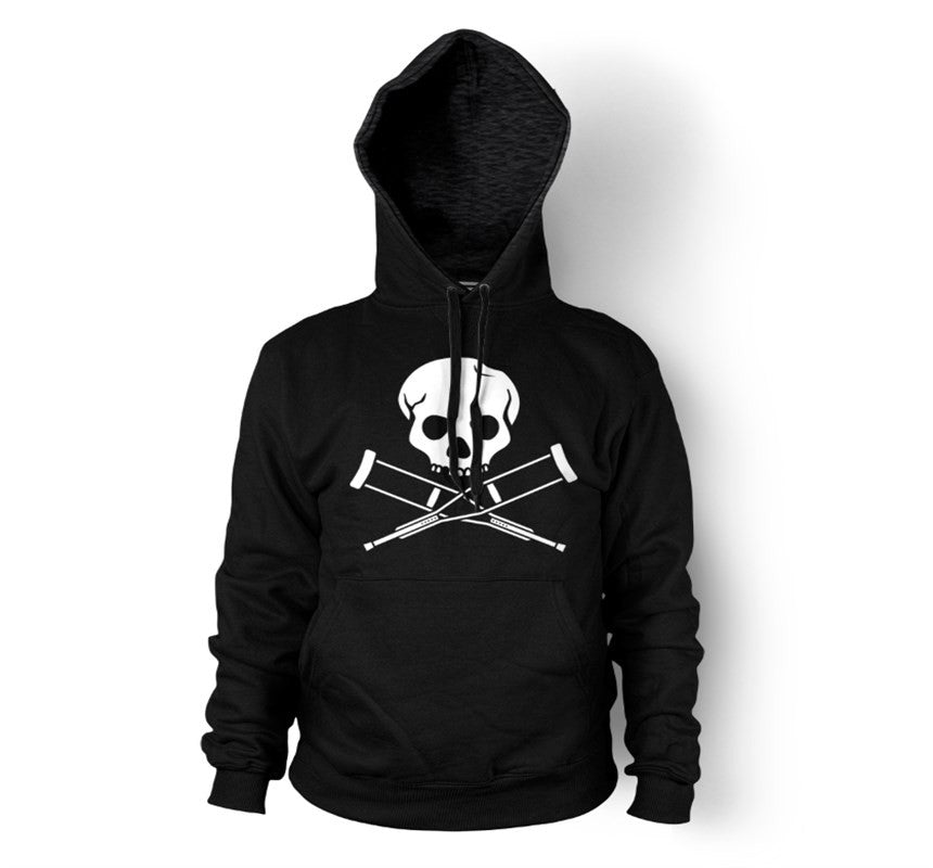 Skull & Crutches Black Men's Pull-Over Hoodie