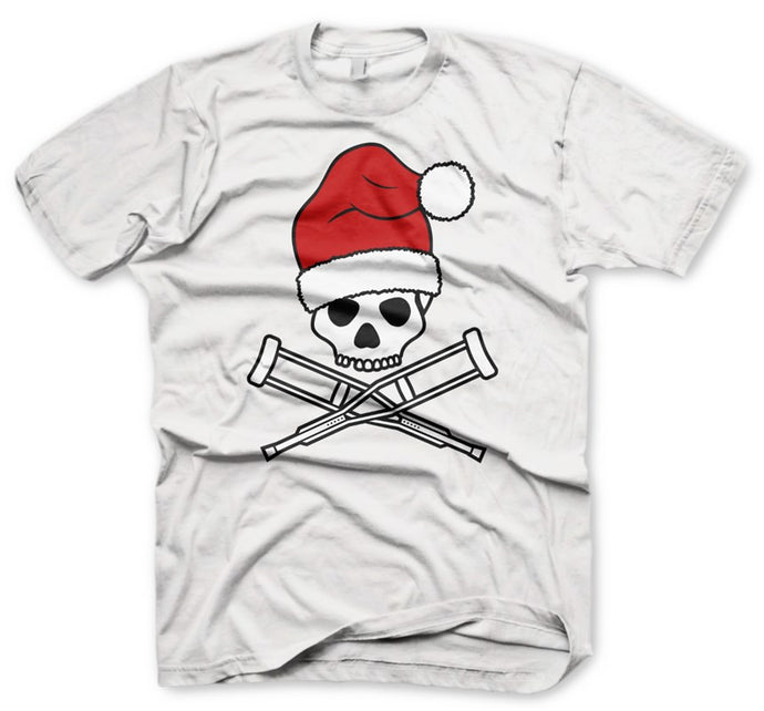 Christmas Skull Men's White T-Shirt