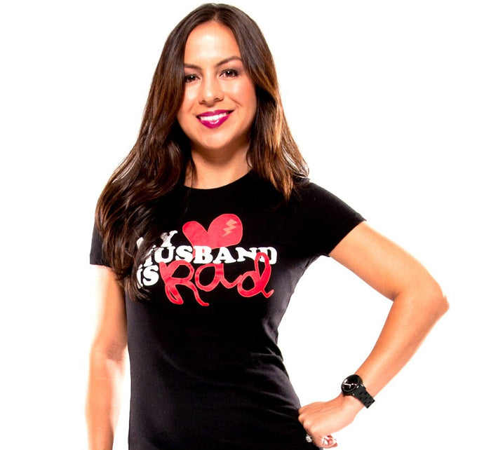 My Husband Is Rad Women's Black T-shirt