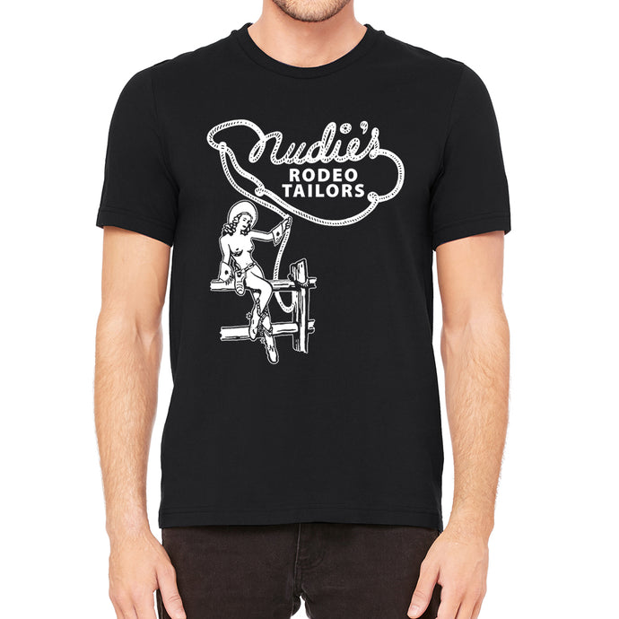 Nude Cowgirl Men's Black T-Shirt