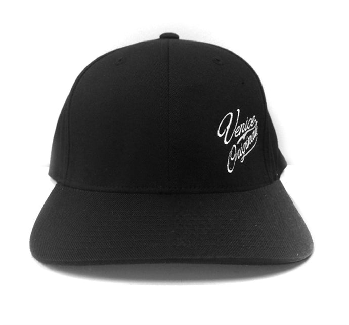 Venice Originals Side Script Black Flex Fit Hat