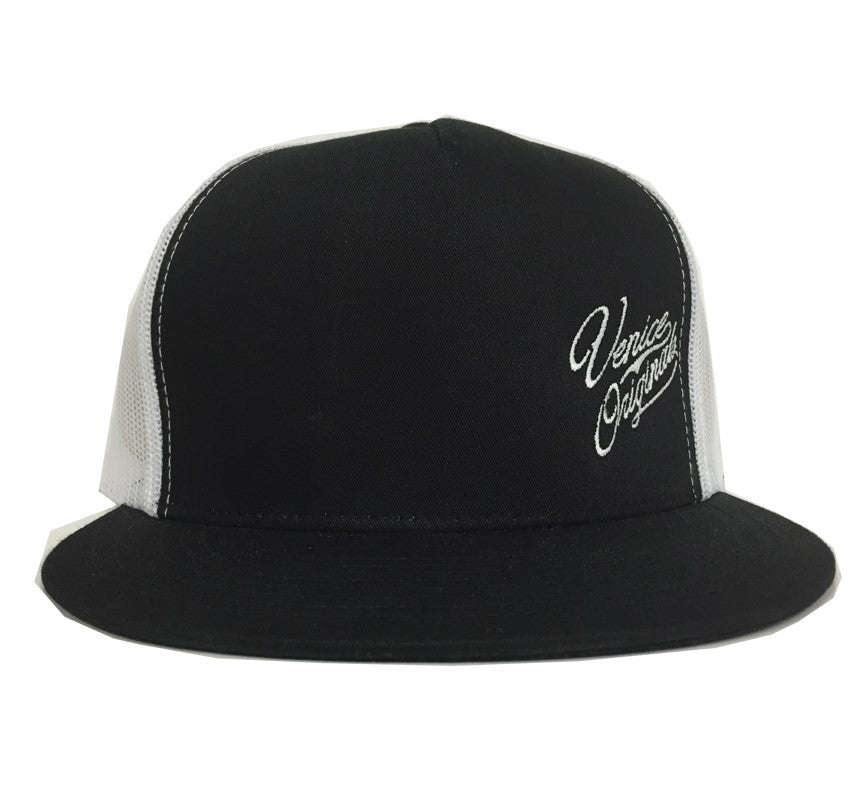 Venice Originals Side Script Black/White Snapback Hat