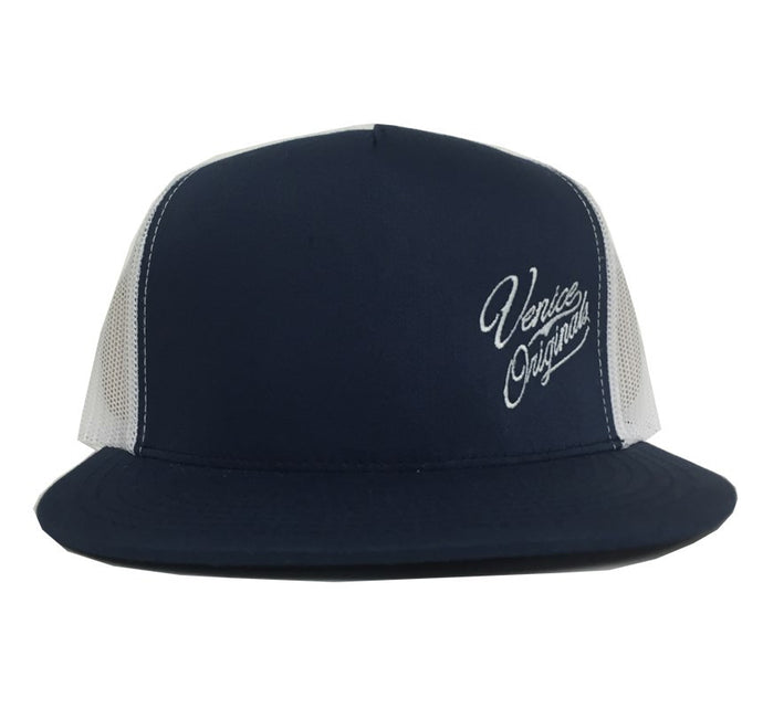 Venice Originals Side Script Navy/White Snapback Hat