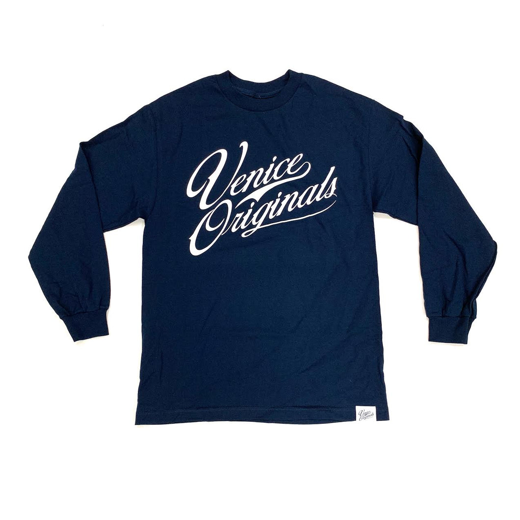 Script Logo Men's Navy Long Sleeve