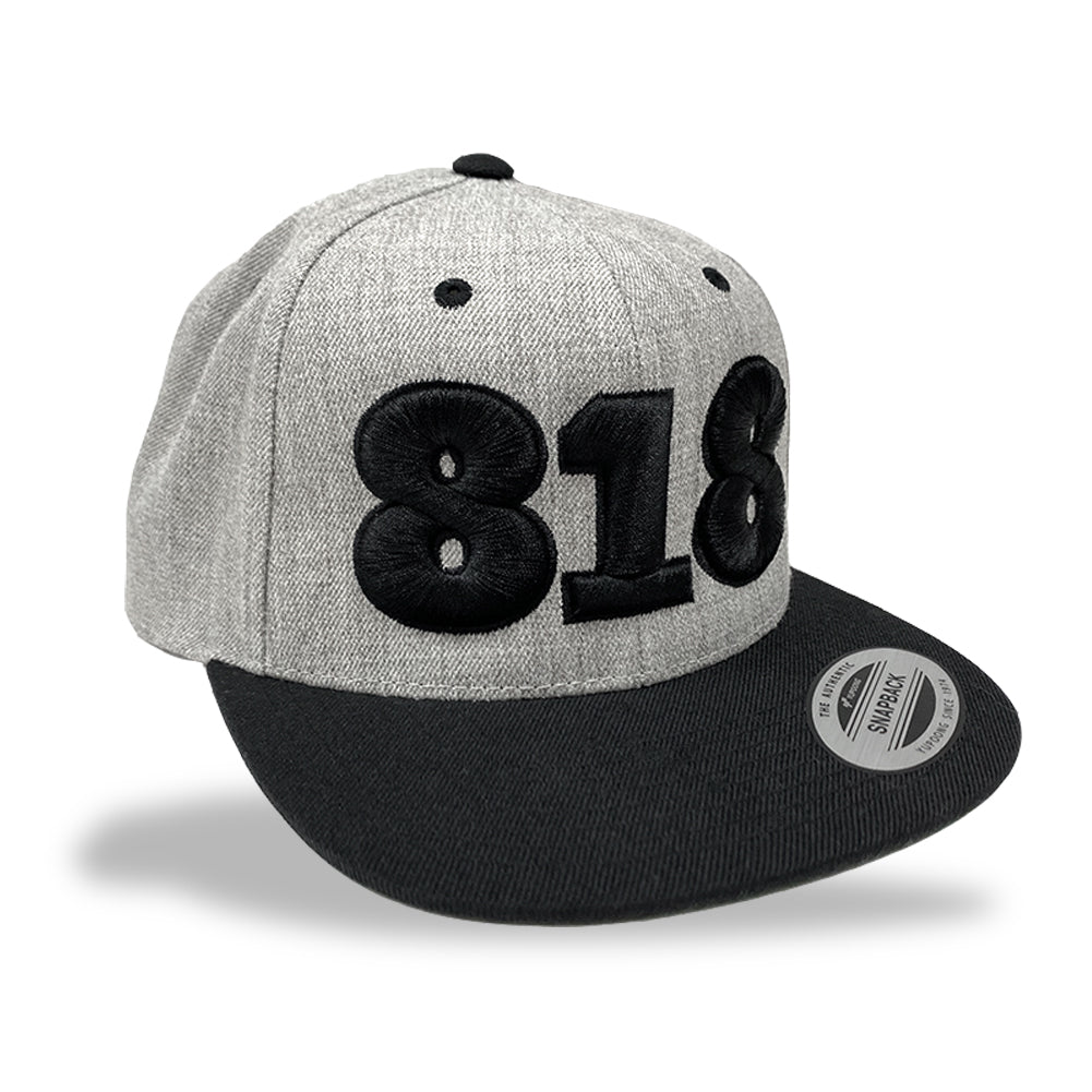 818 Black / Heather Grey Snapback Hat