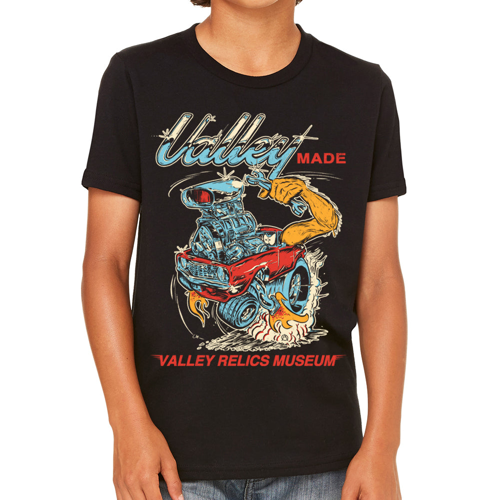 Valley Made Hot Rod Black Youth Tee