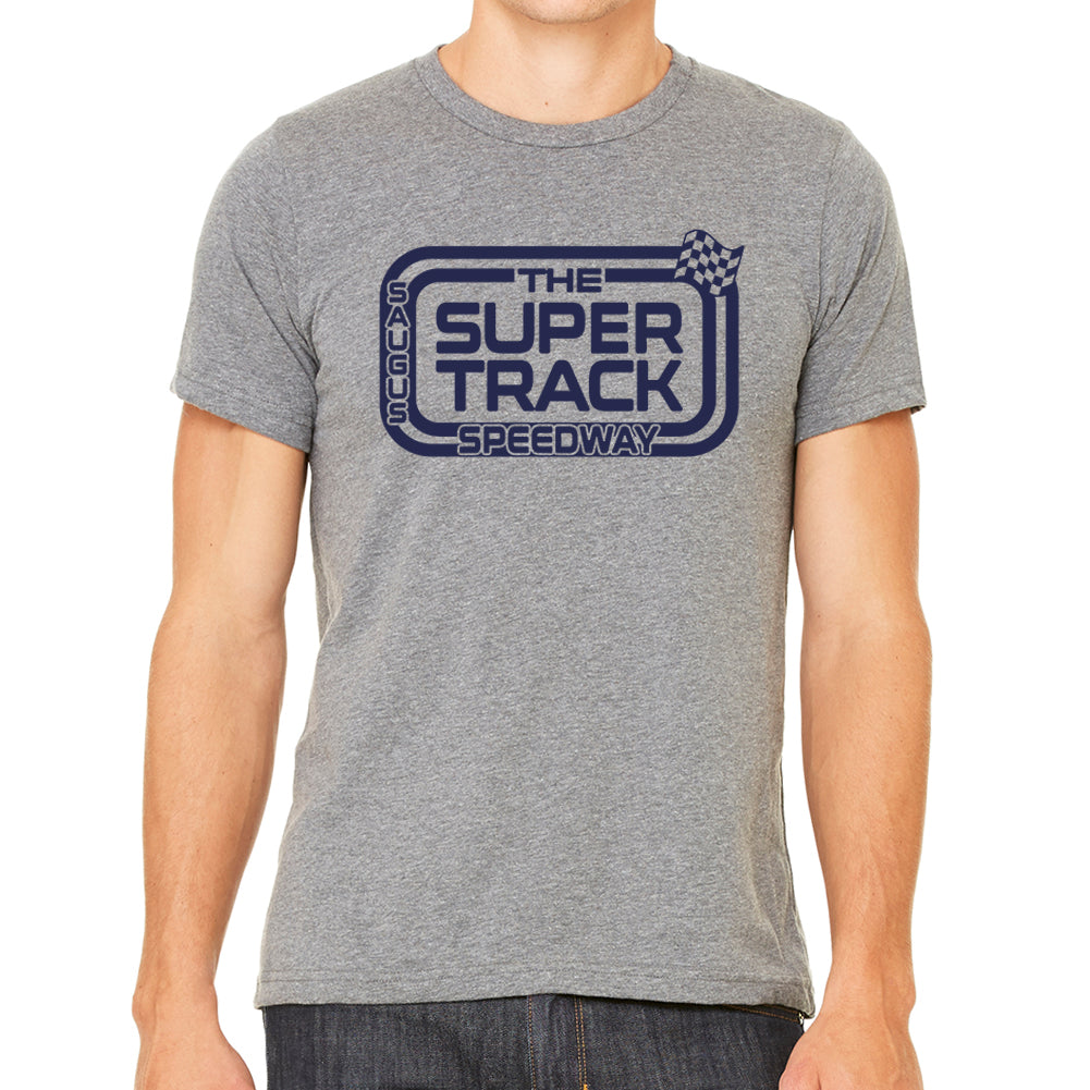 The Saugus Super Track Speedway Men's Slim Fit Grey Tri Blend T-Shirt