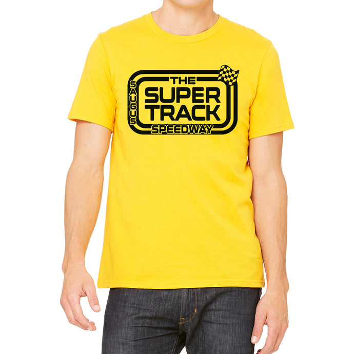 The Saugus Super Track Speedway Men's Yellow T-Shirt