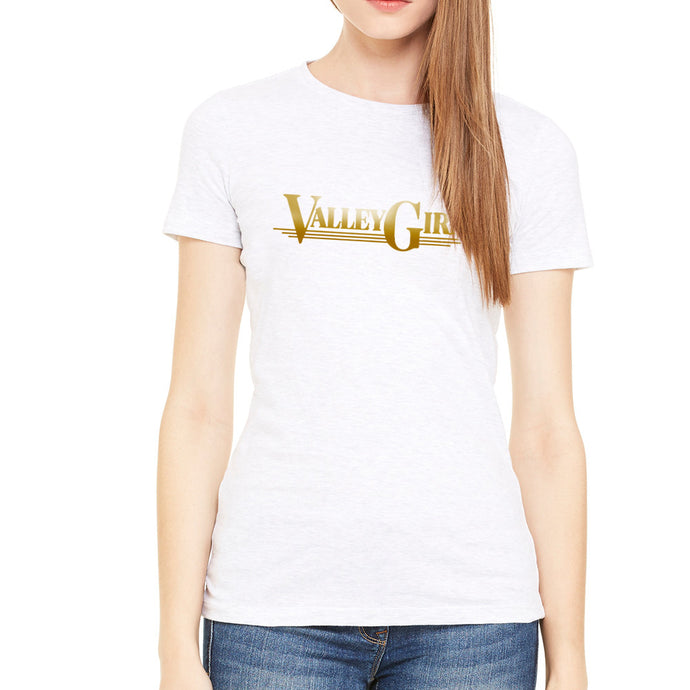 Valley Girl Gold Script White Women's T-shirt