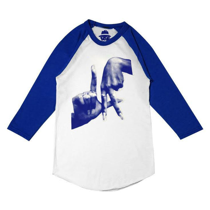 Pixelated Fingers Men's White and Blue Raglan