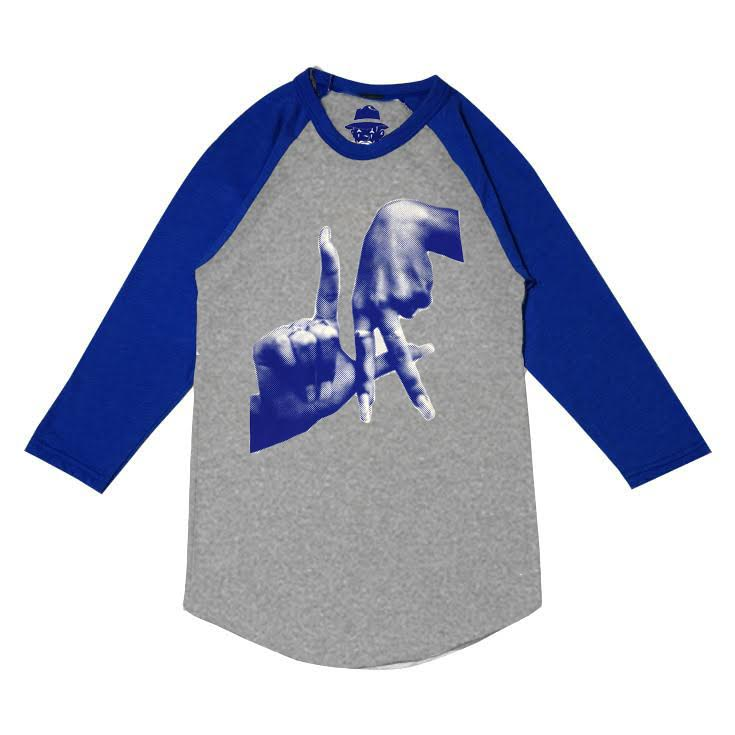 Pixelated Fingers Men's Grey and Blue Raglan