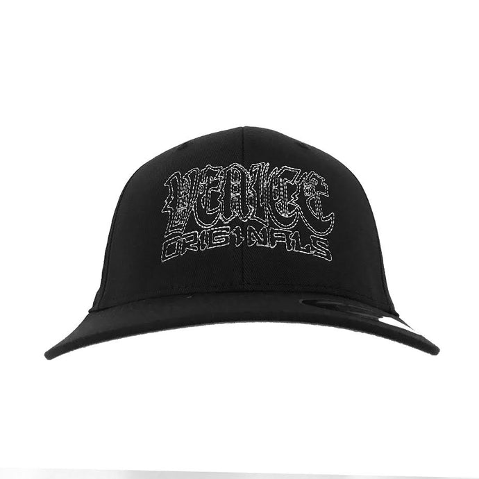 Venice Originals Gothic Script Black Flex Fit Hat