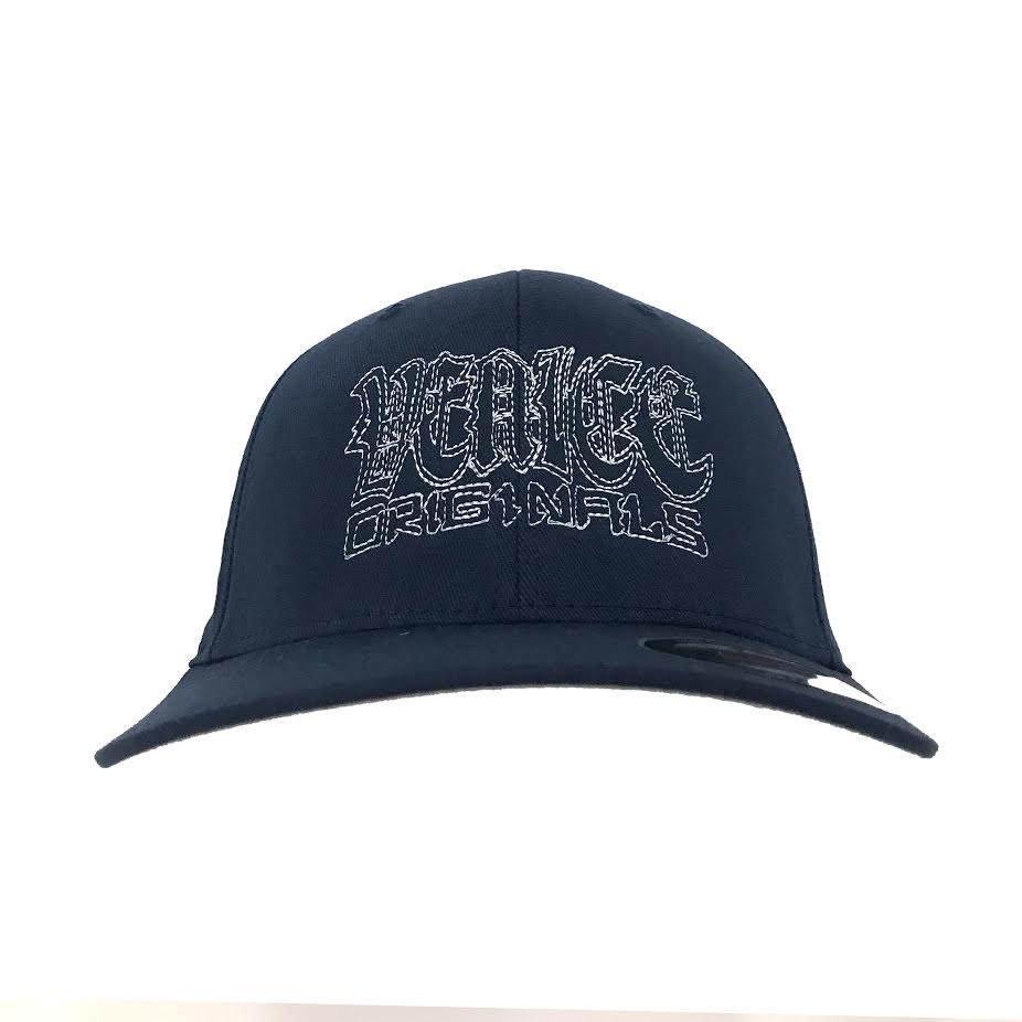 Venice Originals Gothic Script Navy Flex Fit Hat