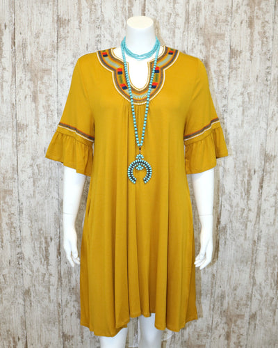 Short Ruffled Slv Tunic Dress w Embroidered Accents w Gathered Front B3580