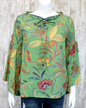 Angled Bell Long Slv Floral Top w Tie at Ruffled Neck