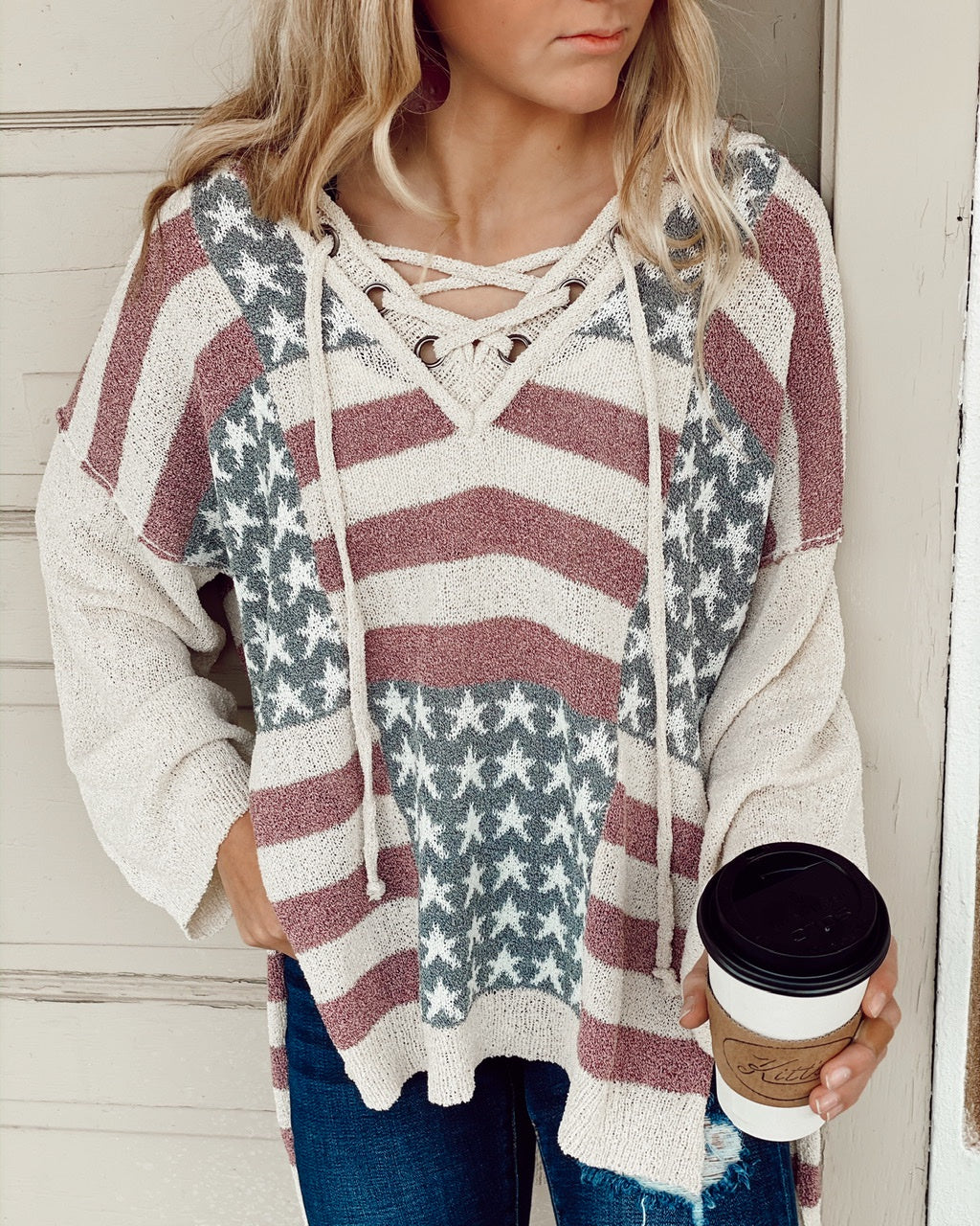 Thin Knit Long Slv Patriotic Sweater w Criss Cross Tie at Neck and Hood