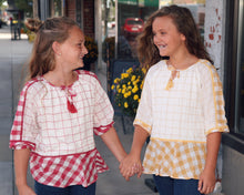 KIDS Gingham Tassel Tie Top G7758