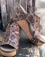 CORKYS Carley Distressed Leopard Wedge Sandal 30-5316