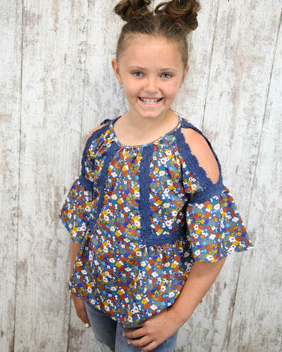 KIDS Cold Shoulder Floral Print Top w Crochet Detail K2V49-MX82