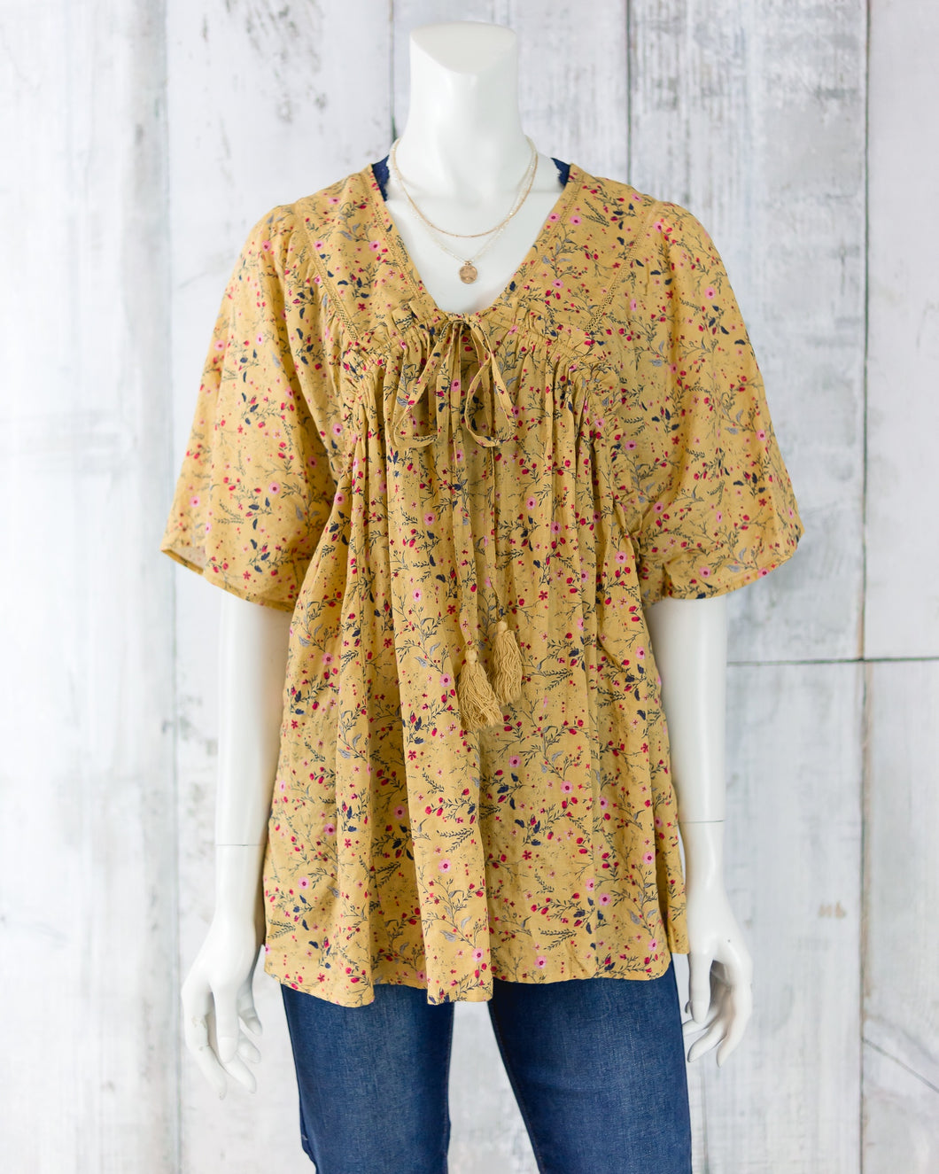 Short Sleeve Peasant Top