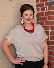 Cold Shoulder V Neck Metallic Top w Tie Back