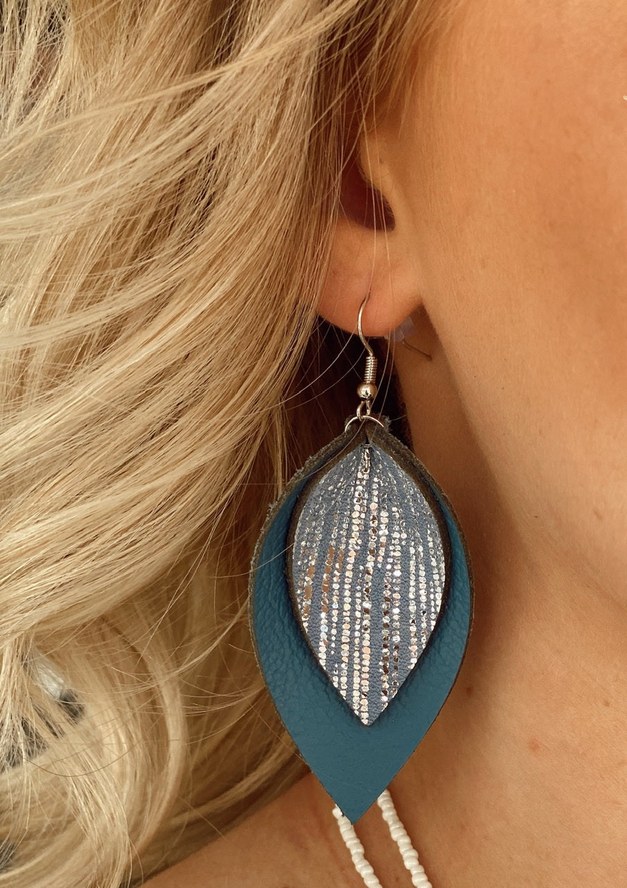 Denim Blue Rain Double Layered Leather Earrings
