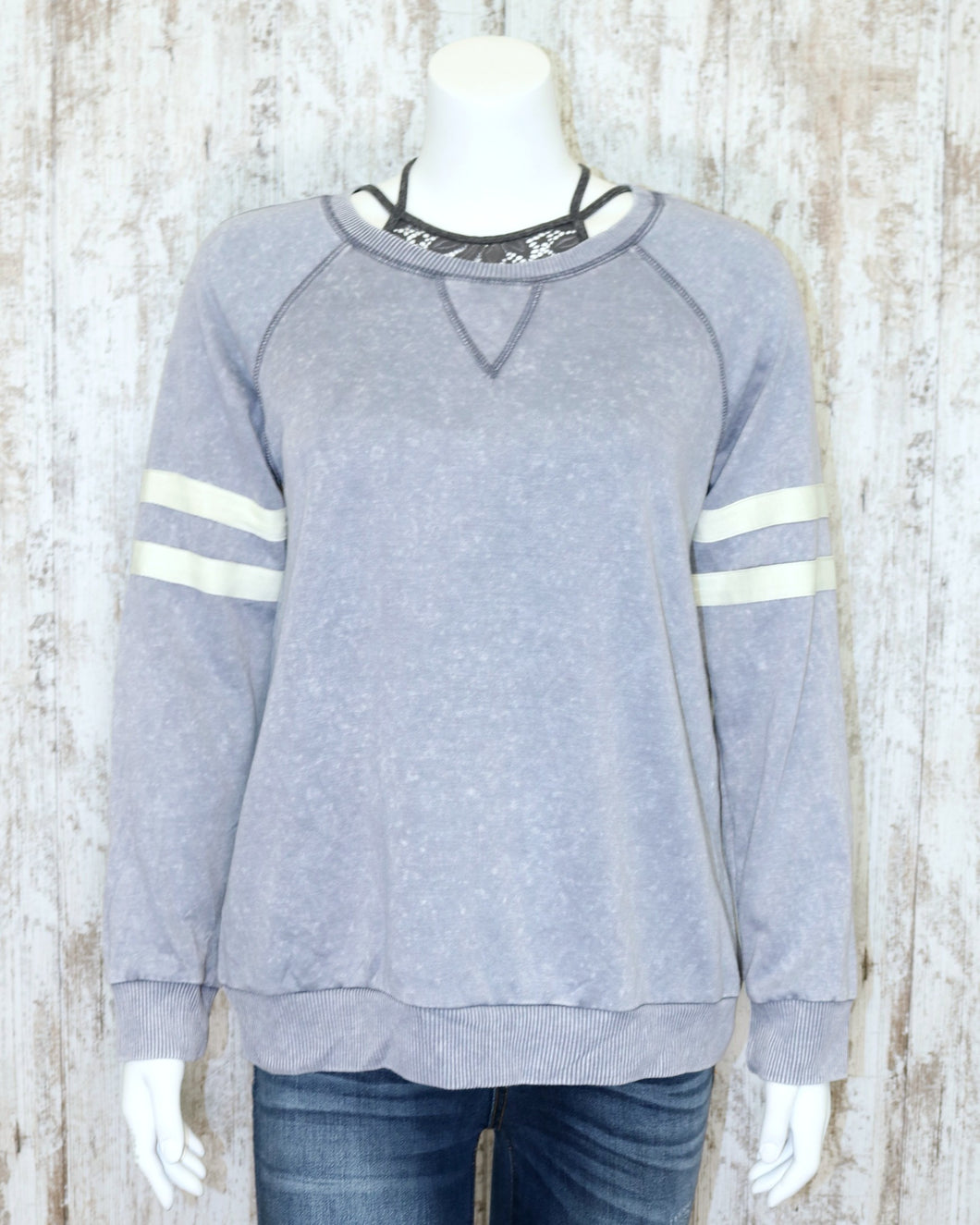 Long Slv Mineral Washed Super Soft Sweatshirt w Striped Arm Accents B3361