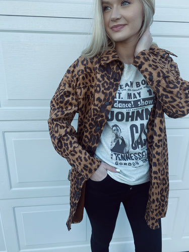 Lt Weight Cheetah Long Slv Snap Jacket w Tie at Waist
