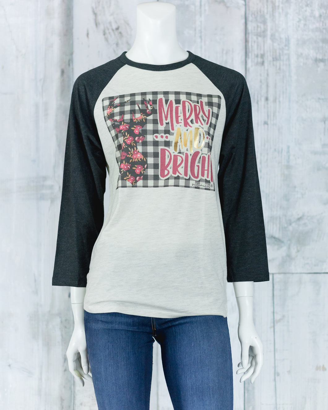 Merry and Bright Xmas Baseball Tee MBD-NLB