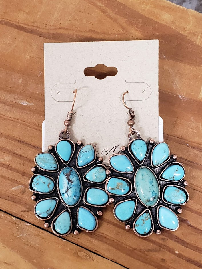Forever and Ever Amen Turquoise Stone Flower Squash Earrings AE9121C