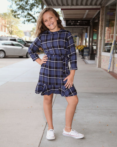 KIDS Plaid Belted A Line Dress G8036